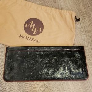 Monsac Crinkled Patent Leather Clutch